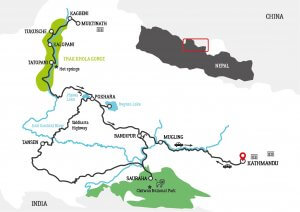 Road way Map for Lower mustang motorbike tour