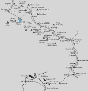 Road way map to manang