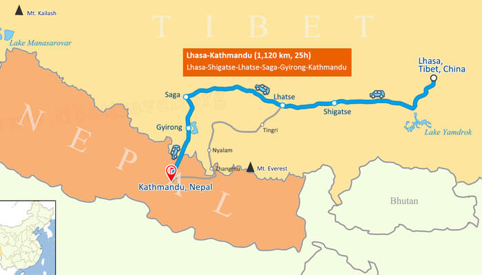 Everest Motorcycle Tour Map