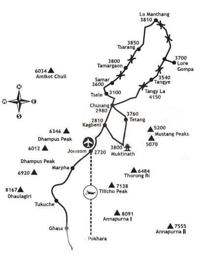 Upper Mustang Motorbike Tour map
